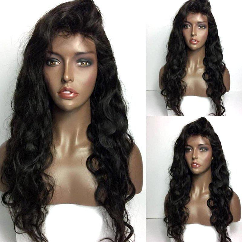 Long Free Part Shaggy Body Wave Lace Front Real Human Hair Wig - NATURAL BLACK