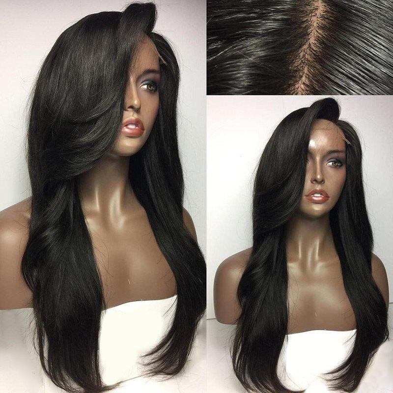 Long Deep Side Parting Natural Straight Real Human Hair Lace Front Wig - NATURAL BLACK