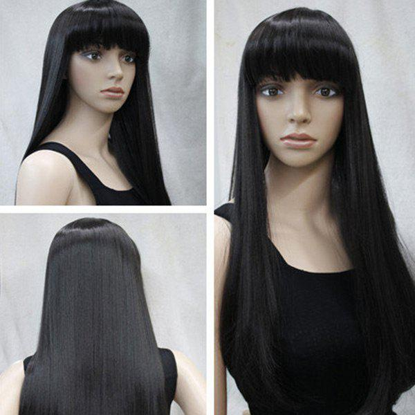 Long Full Bang Straight Heat Resistant Synthetic Wig - BLACK
