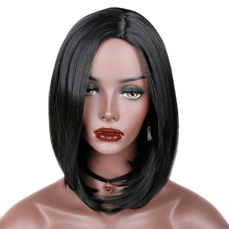 Side Parting Medium Synthetic Straight Bob Wig - BLACK