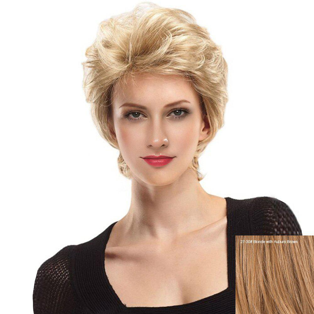 Short Side Fringe Fluffy Slightly Curly Lace Front Human Hair Wig - BLONDE/AUBURN BROWN