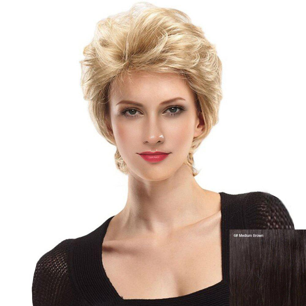 Short Side Fringe Fluffy Slightly Curly Lace Front Human Hair Wig - MEDIUM BROWN