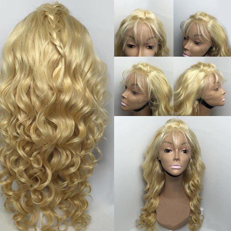 Long Free Part Body Wave Braided Real Lace Front Human Hair Wig - CITRUS