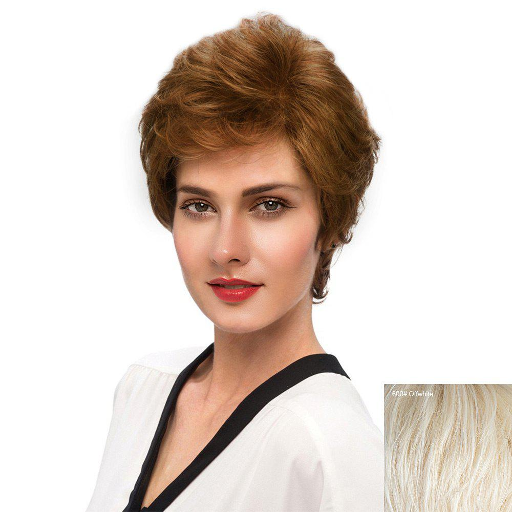 Short Inclined Bang Fluffy Slightly Curly Human Hair Wig - WHITE
