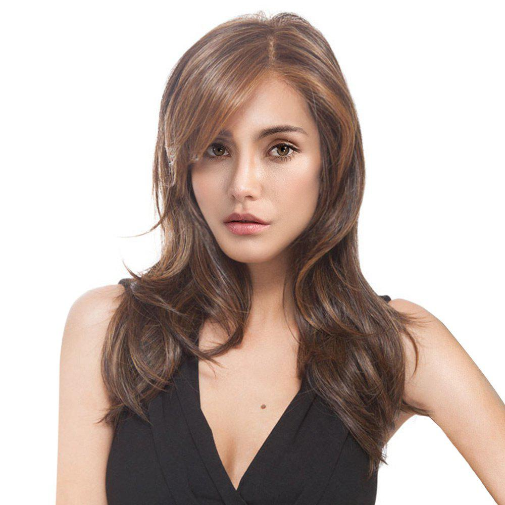 Long Side Parting Colormix Layered Slightly Curled Synthetic Wig - COLORMIX