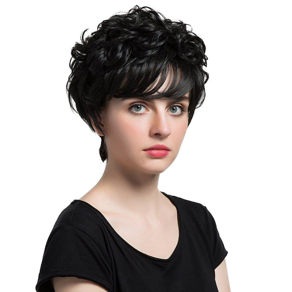 Short Oblique Bang Curly Synthetic Wig - BLACK 24CM