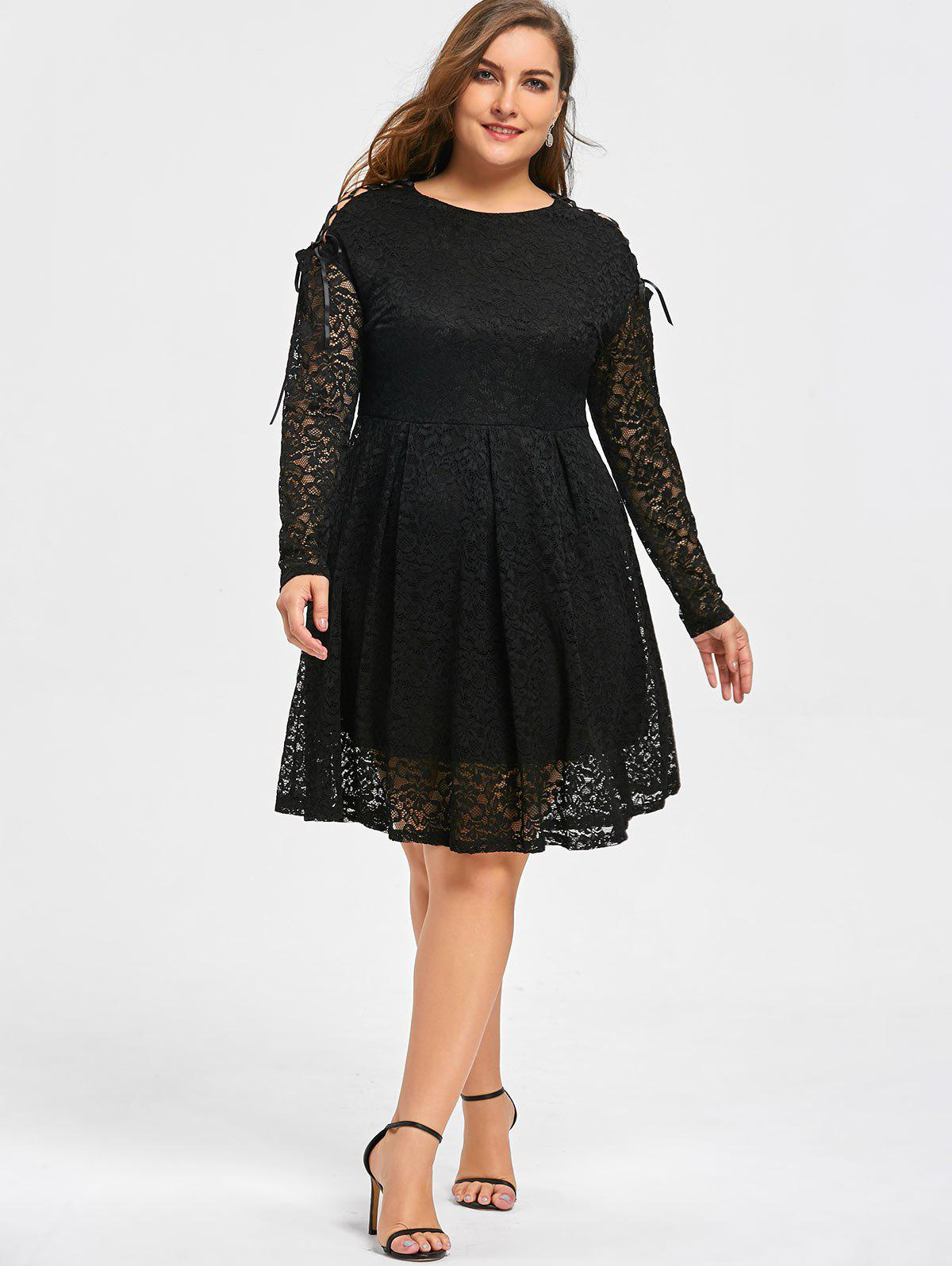 Plus Size Drop Shoulder Long Sleeve Lace Dress - BLACK 5XL