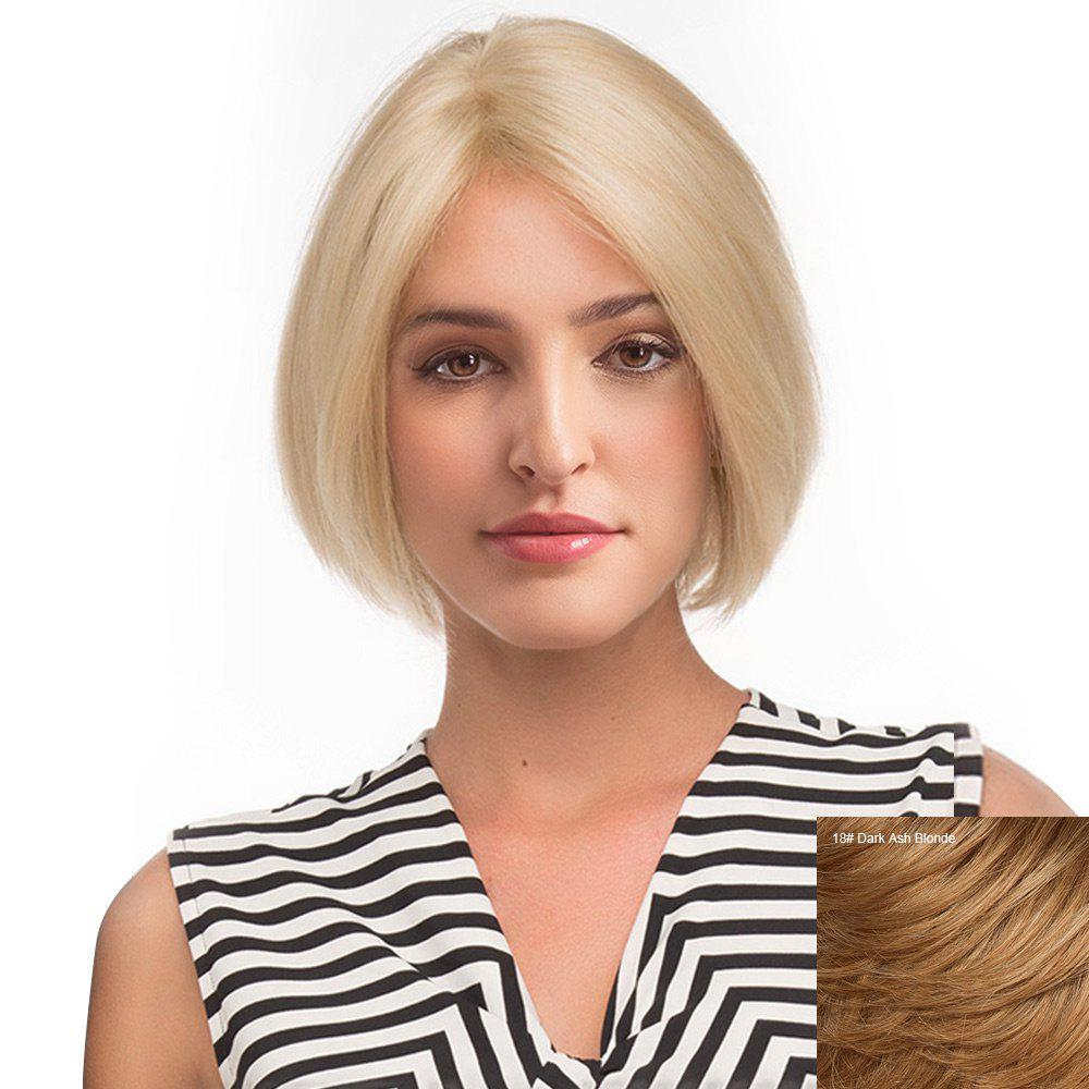 Middle Part Straight Short Bob Human Hair Lace Front Wig - DARK ASH BLONDE