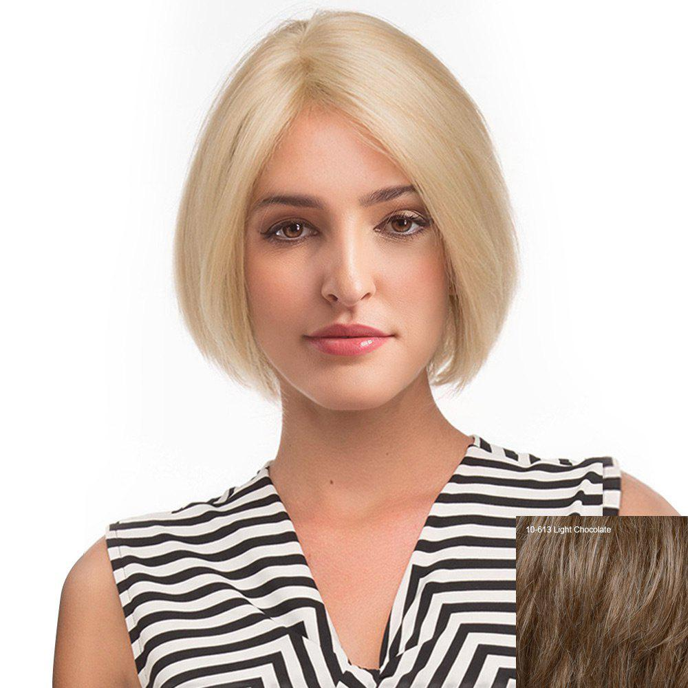 Middle Part Straight Short Bob Human Hair Lace Front Wig - LIGHT CHOCOLATE