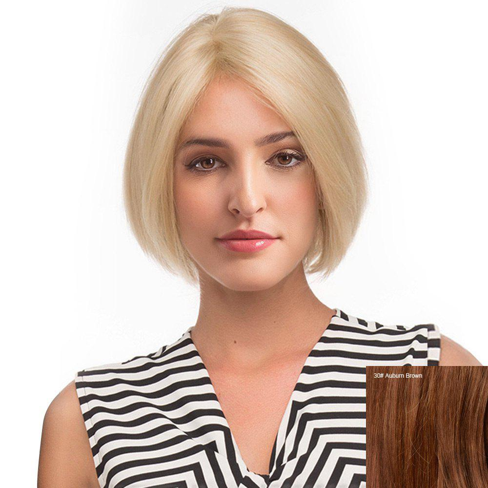 Middle Part Straight Short Bob Human Hair Lace Front Wig - AUBURN BROWN
