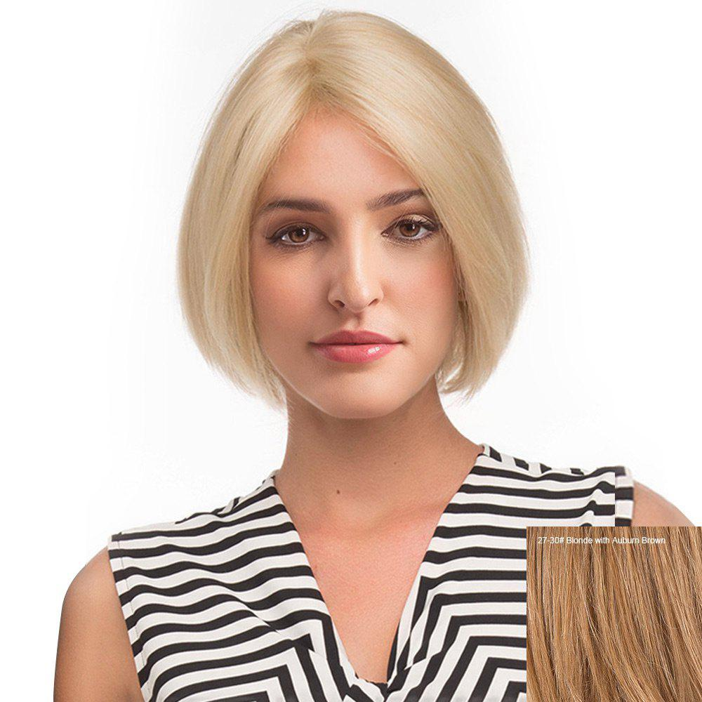 Middle Part Straight Short Bob Human Hair Lace Front Wig - BLONDE/AUBURN BROWN
