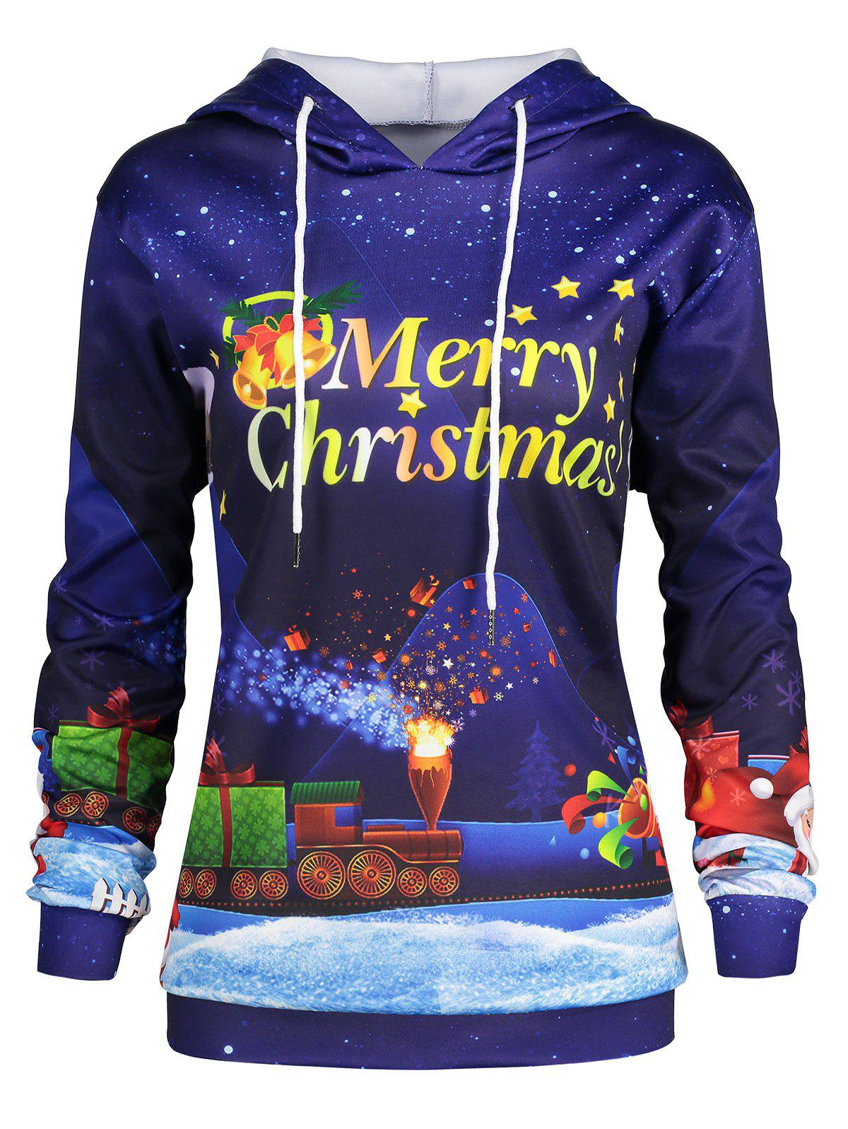 Plus Size Father Christmas Sky Printed Hoodie цена