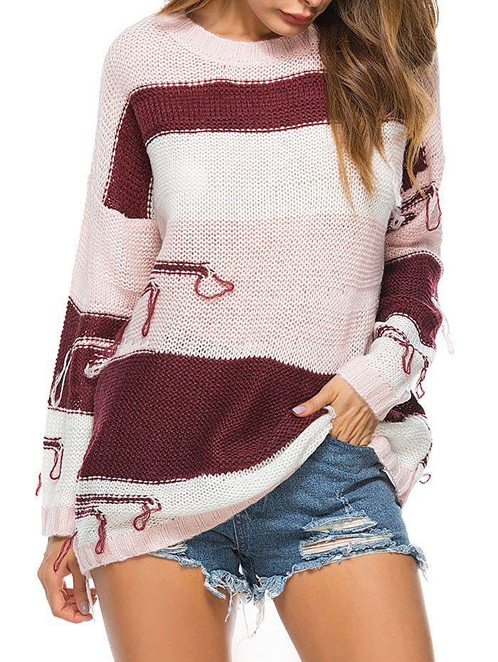 Crew Neck Drop Shoulder Color Block Distressed Tunic Sweater - PINK ONE SIZE