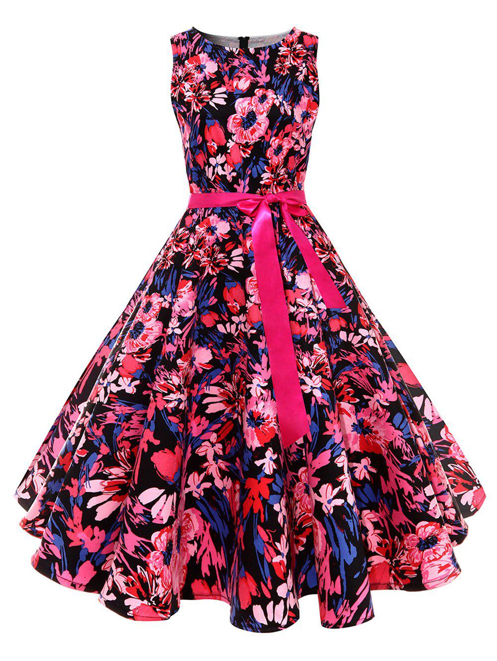 Retro Floral Print Pin Up Skater Dress - RED M