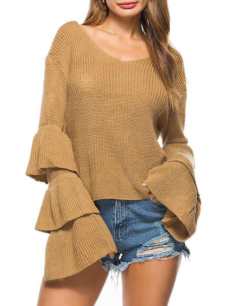 Convertible Neck Bell Sleeve Knit Sweater