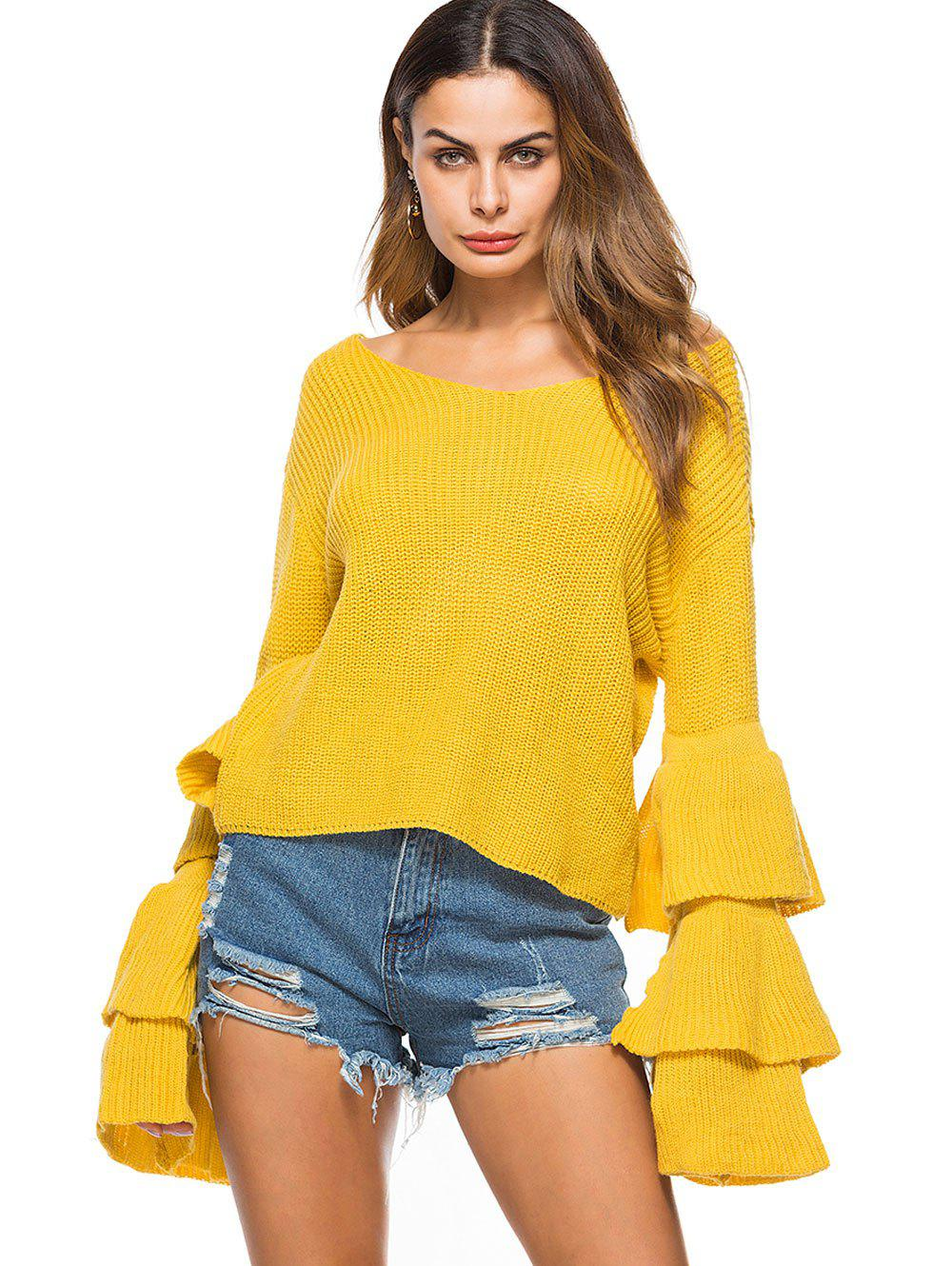 Convertible  Neck Bell Sleeve Knit Sweater - YELLOW ONE SIZE