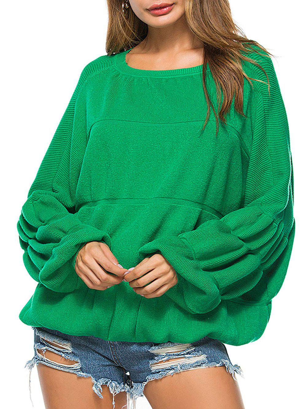 Puff Sleeve Crew Neck Sweater - GREEN ONE SIZE