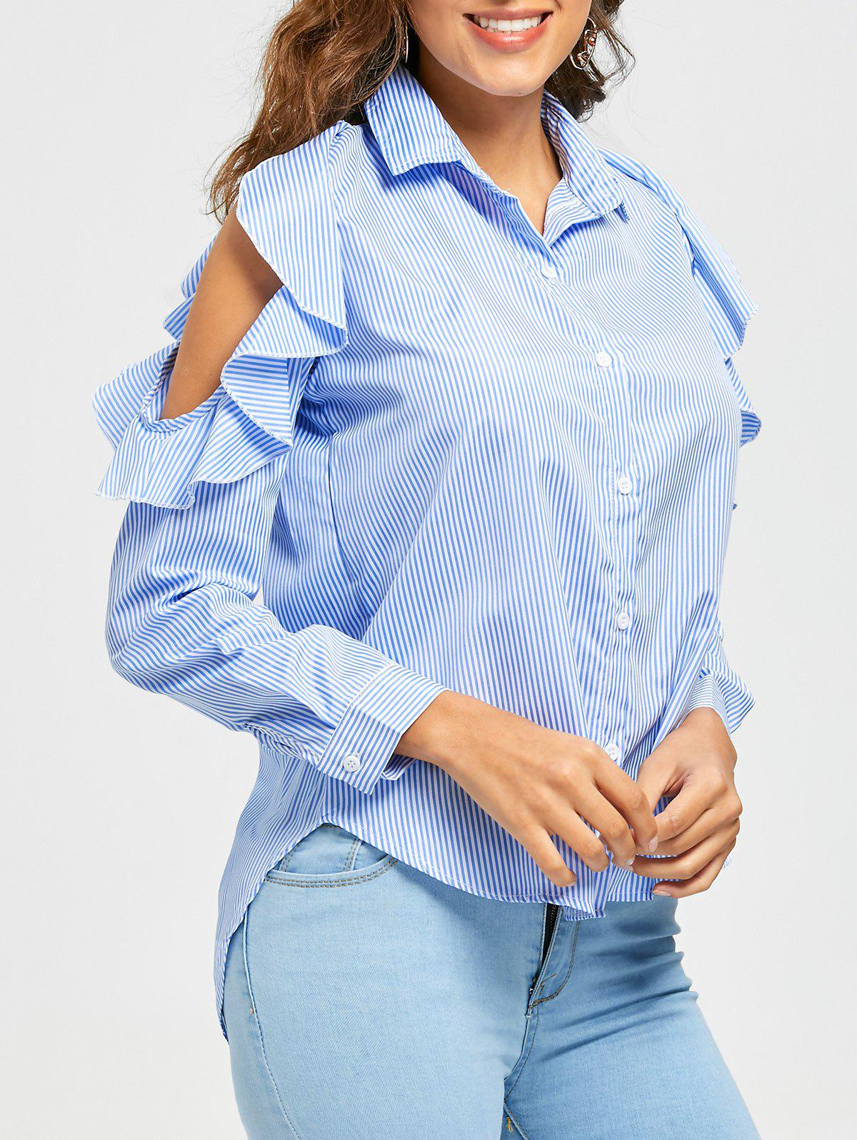 High Low Striped Ruffle Cold Shoulder Shirt - LIGHT BLUE XL
