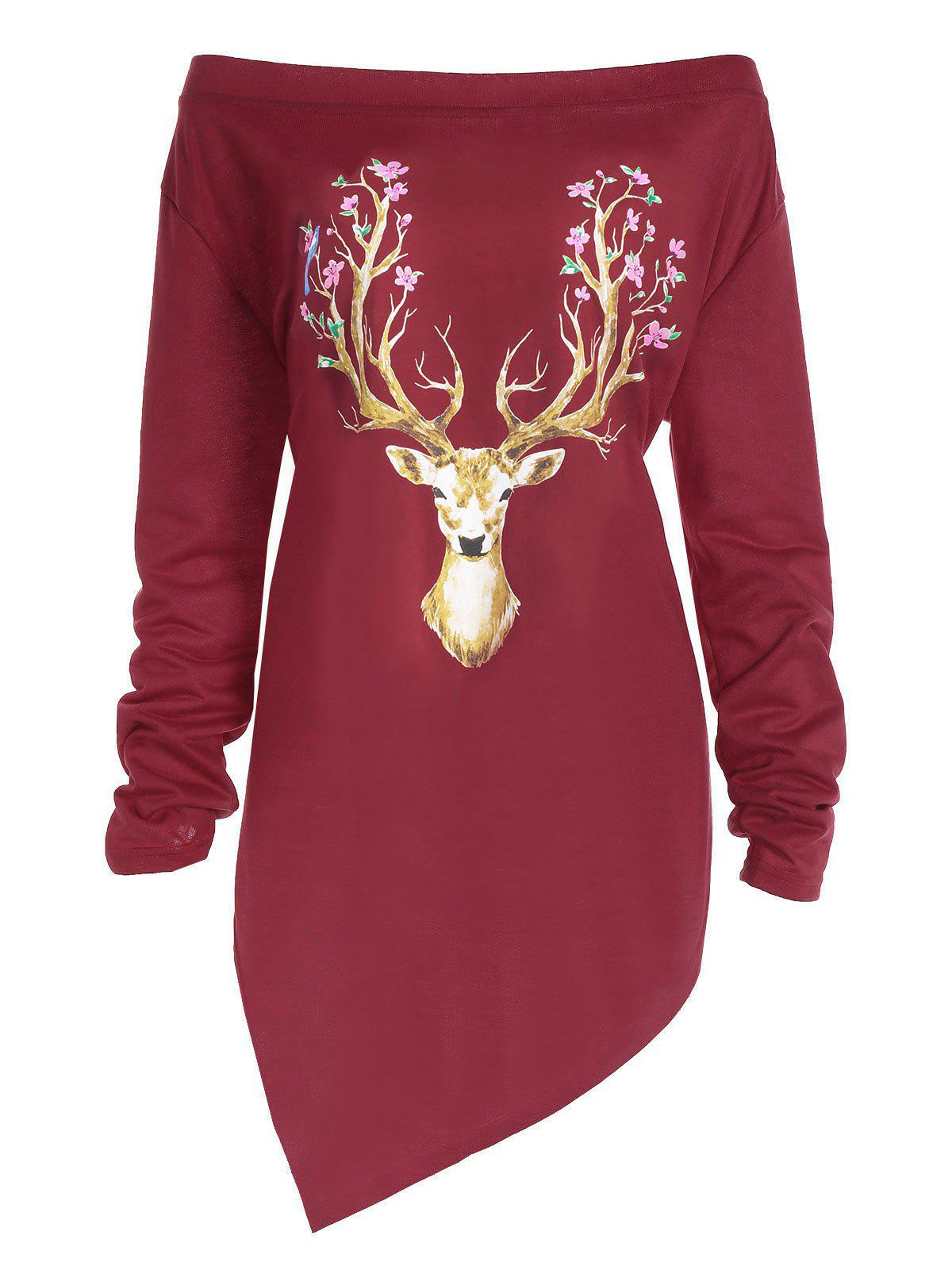 Plus Size Christmas Elk Print Asymmetrical Tee - RED XL