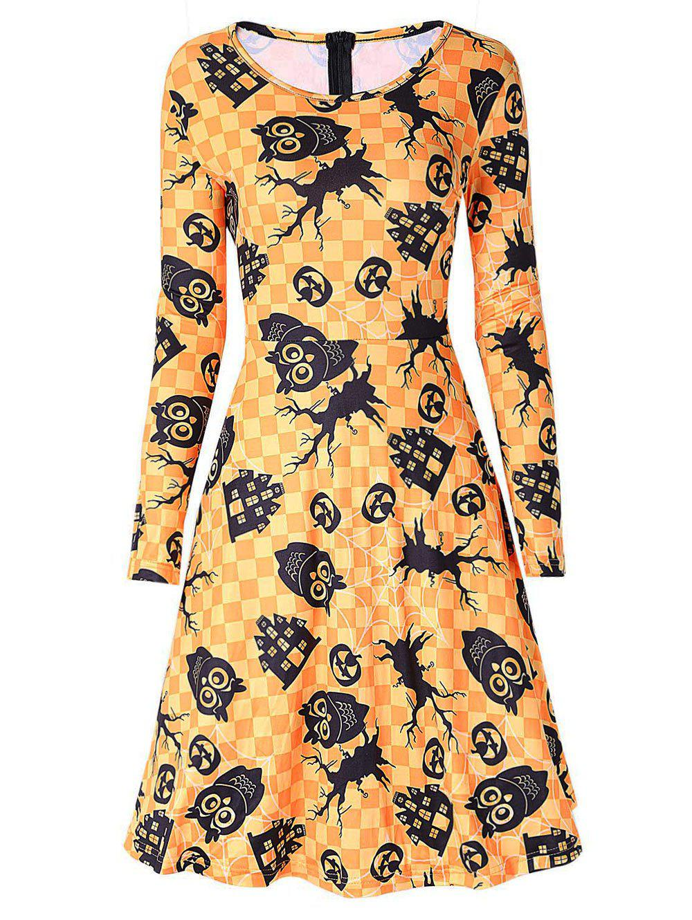 Owl and Pumpkin Print Halloween Swing Dress - YELLOW XL