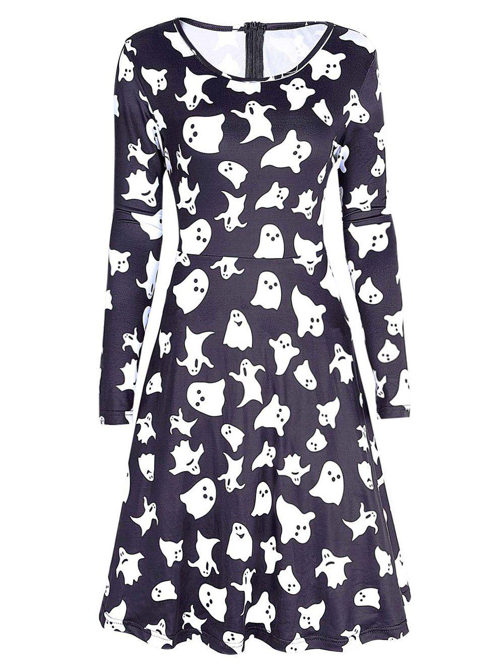 Long Sleeve Ghost Print Halloween Swing Dress - Noir M