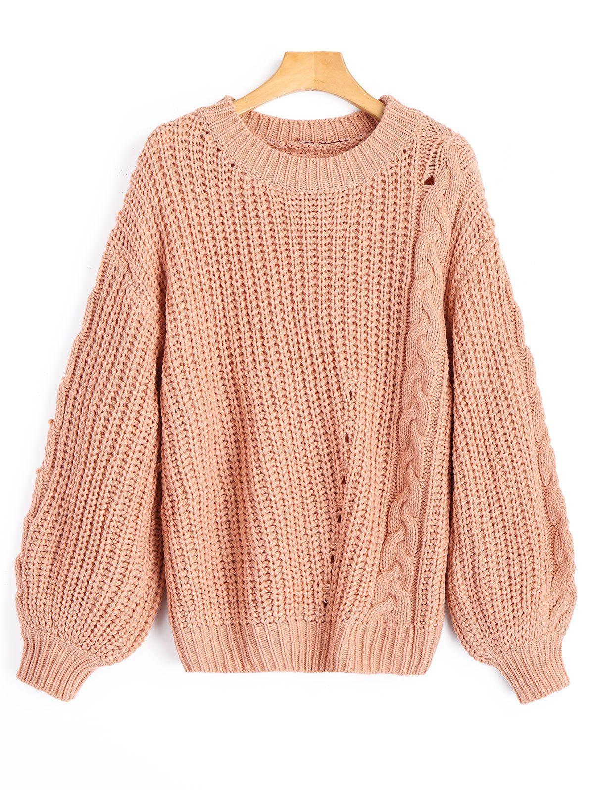 Chunky Cable Knit Sweater - Camée ONE SIZE