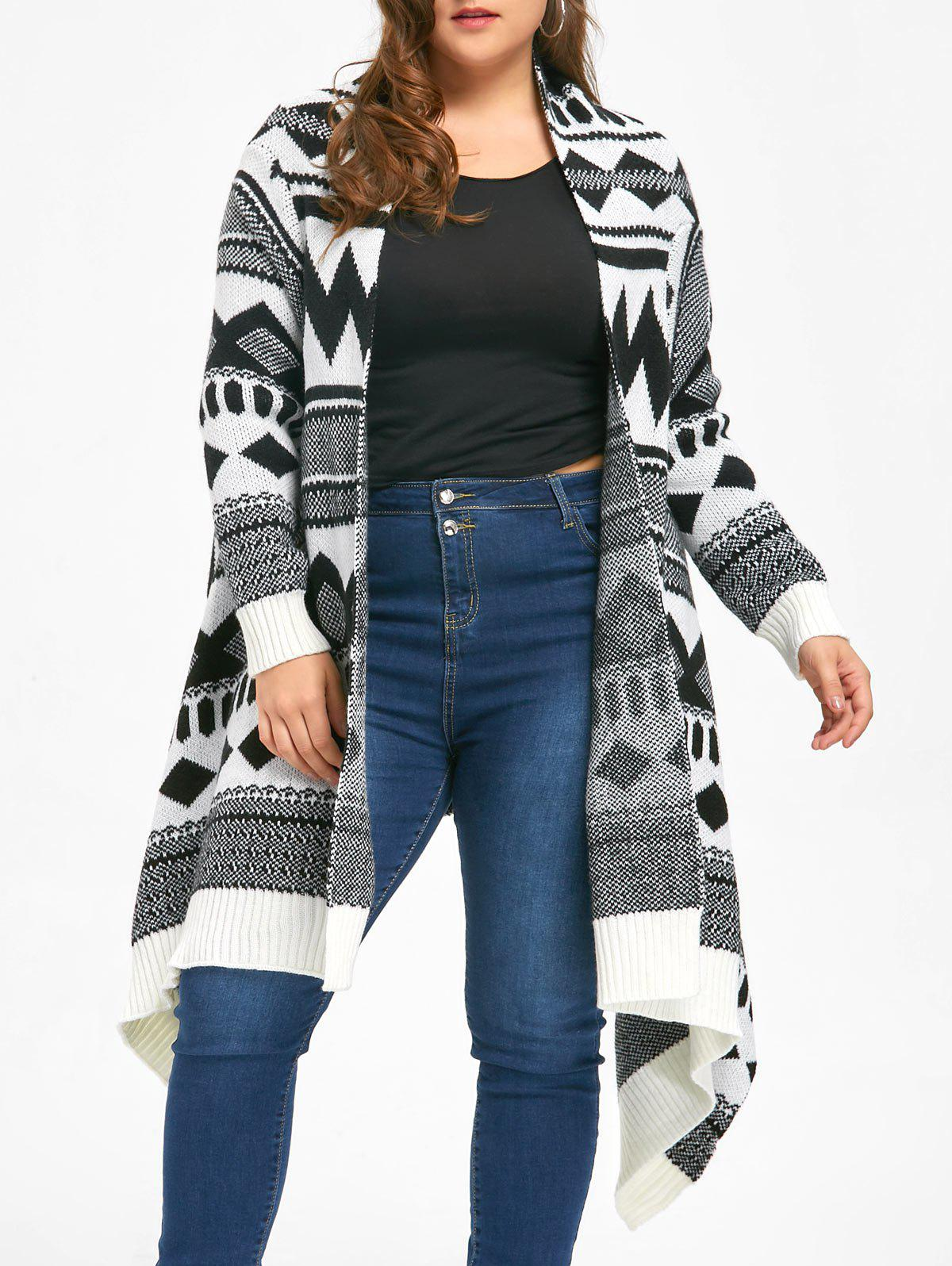 Plus Size Monochrome Geometric Cardigan - WHITE/BLACK 2XL