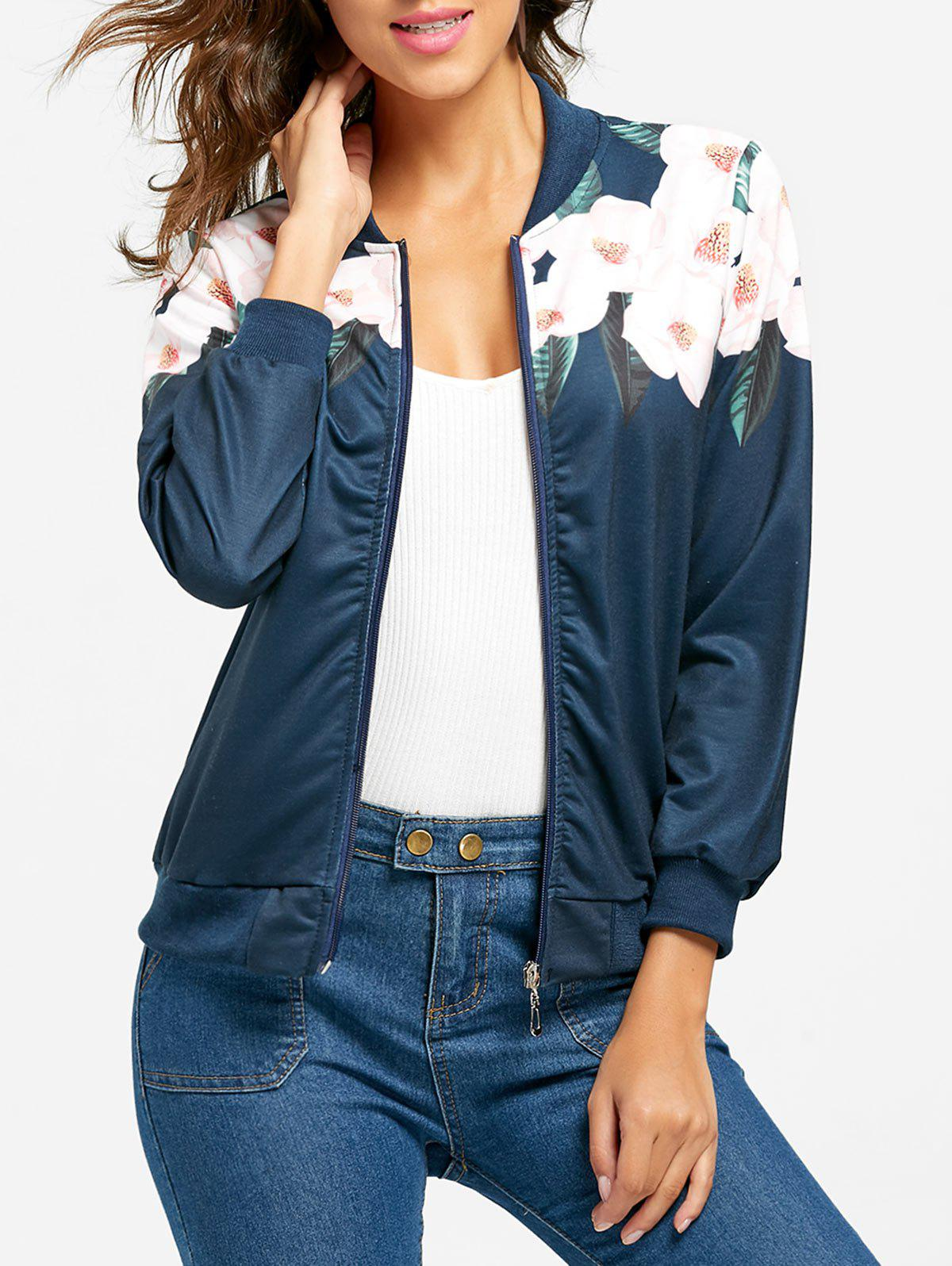 Flower Print Zip Up Jacket - Bleu S