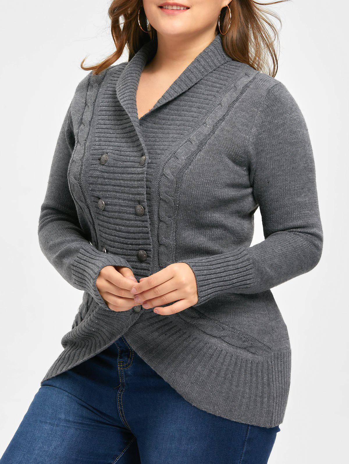 Plus Size Shawl Collar Double Breasted Cardigan - DEEP GRAY 3XL