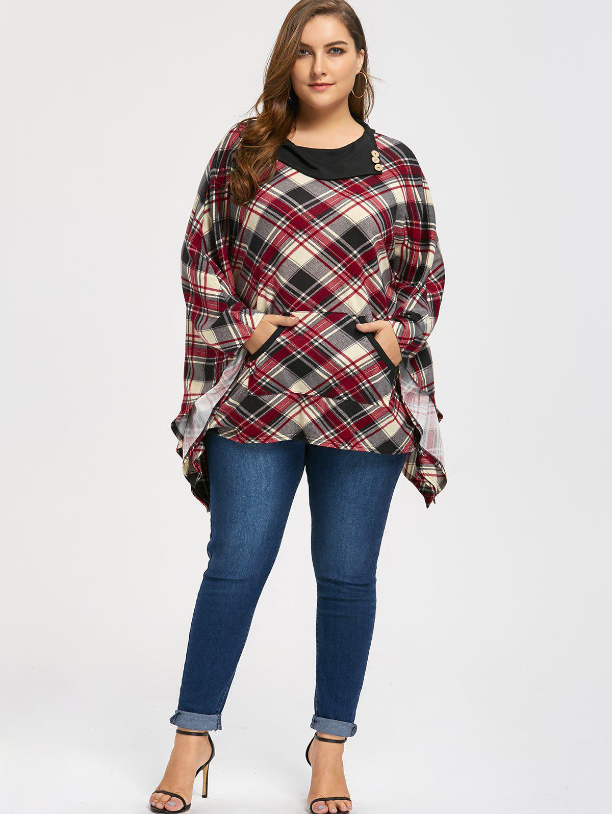 Kangaroo Pocket Plaid Plus Size Cape Top - Carré 4XL