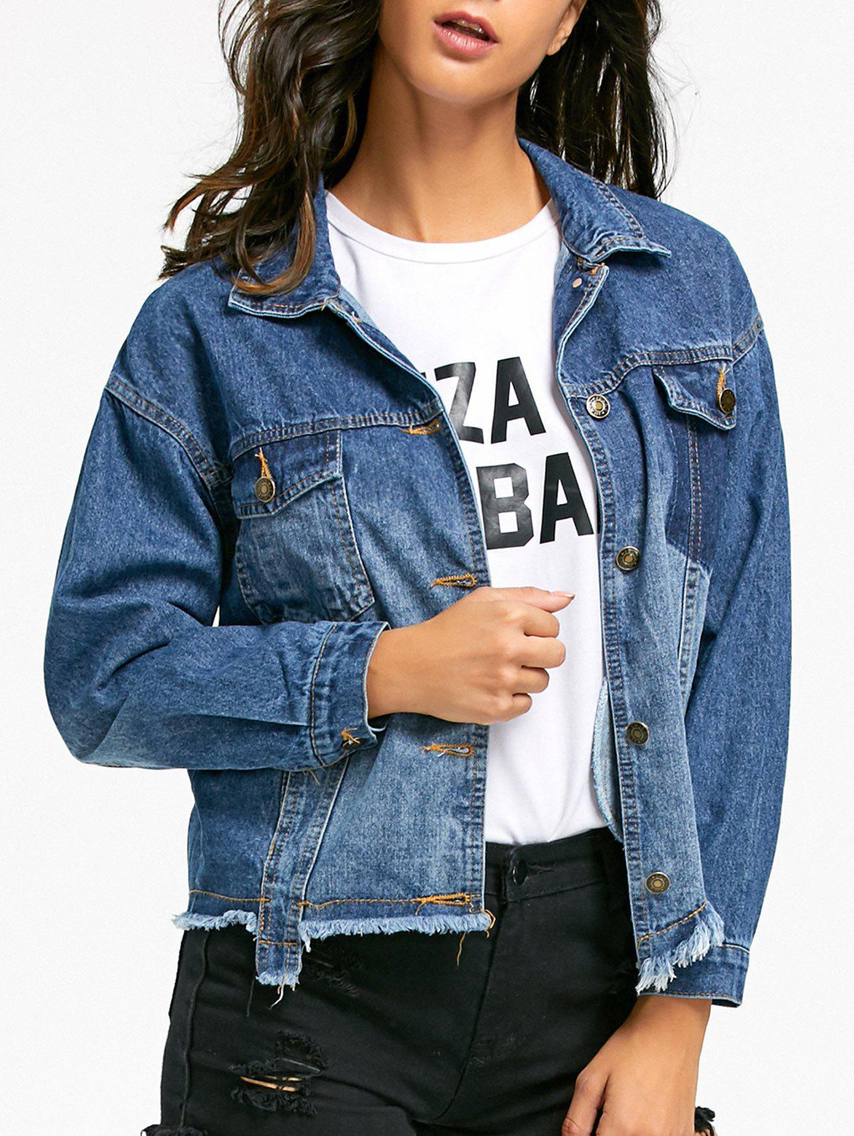 Flap Pockets Raw Hem Denim Jacket - DENIM BLUE L