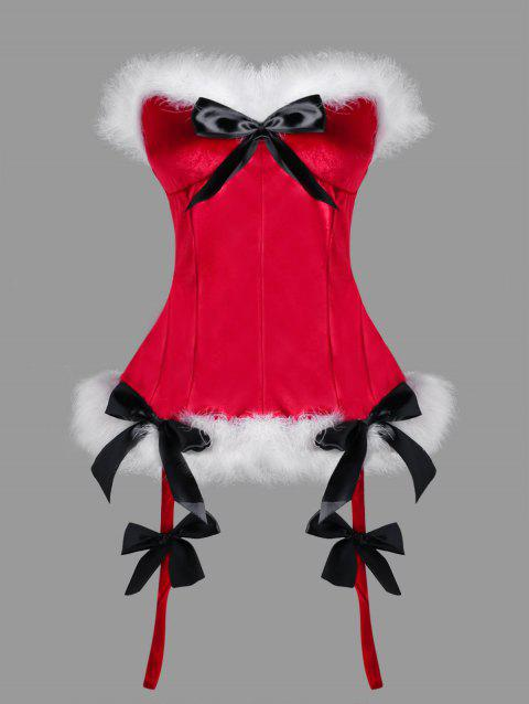 Christmas Plus Size Faux Fur Trim Corset - RED 2XL