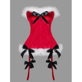 Christmas Plus Size Faux Fur Trim Corset
