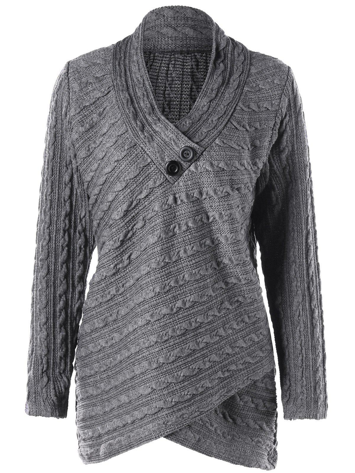 Plus Size Cable Knit Overlap Top - GRAY 2XL