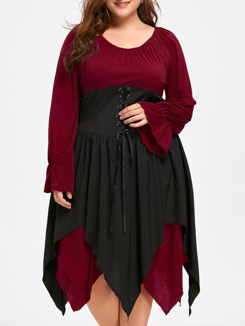 Halloween Plus Size Lace Up Layered Handkerchief Dress - DEEP RED 5XL