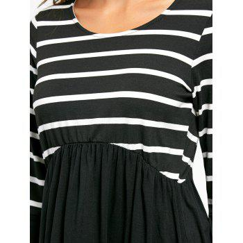 Striped Panel Casual Tunic Top - M M