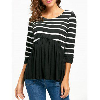 Striped Panel Casual Tunic Top - BLACK M