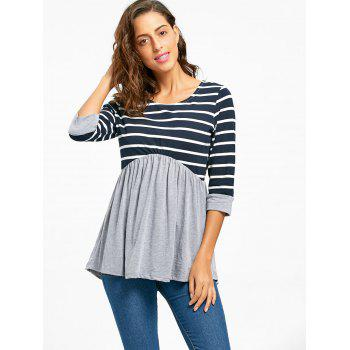Striped Panel Casual Tunic Top - GRAY 2XL