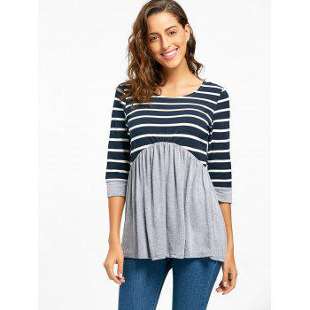 Striped Panel Casual Tunic Top - GRAY XL