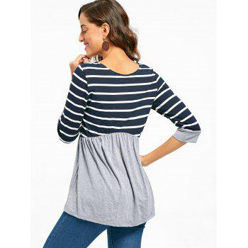 Striped Panel Casual Tunic Top - L L