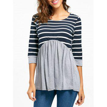 Striped Panel Casual Tunic Top - GRAY S