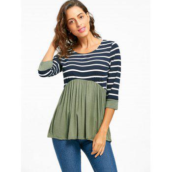 Striped Panel Casual Tunic Top - GREEN L