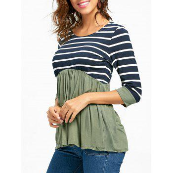 Striped Panel Casual Tunic Top - GREEN M