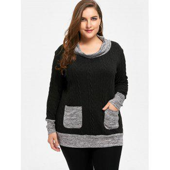 Plus Size Cable Knit Cowl Neck Sweater - BLACK XL