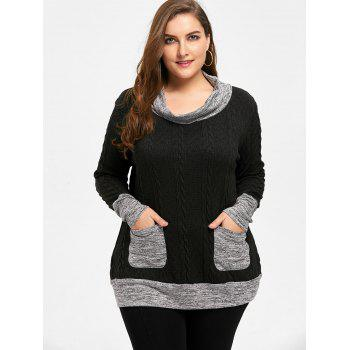 Plus Size Cable Knit Cowl Neck Sweater - BLACK BLACK