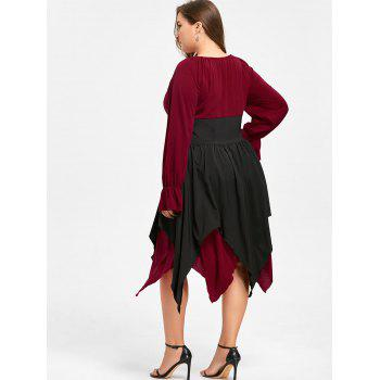 Halloween Plus Size Lace Up Layered Handkerchief Dress - DEEP RED XL