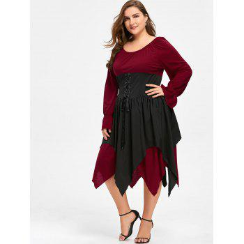 Halloween Plus Size Lace Up Layered Handkerchief Dress - DEEP RED 3XL