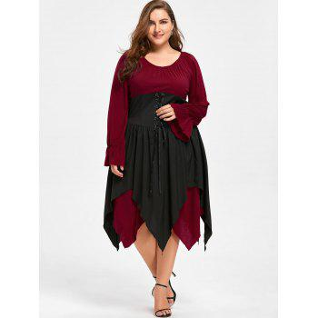 Halloween Plus Size Lace Up Layered Handkerchief Dress - DEEP RED 4XL