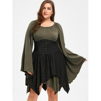Plus Size Batwing Sleeve Lace Up Handkerchief Dress - ARMY GREEN XL