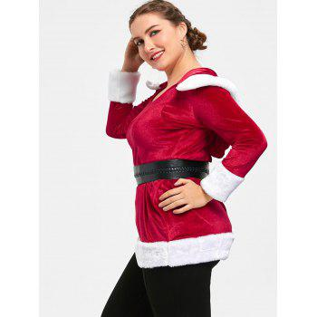 Christmas Plus Size Two Tone Hoodie - RED/WHITE 5XL